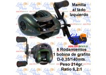 CARRETE LINEAEFFE COLORADO MANILLA-IZQUIERDA M5, D-0,35/140mts. 6 ROD, 1 BOBINA.
