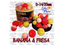 BOILIES POISSON FENAG POP UPS FLURO BANANA & STRANBERRY, 14/20mm. 200ml.