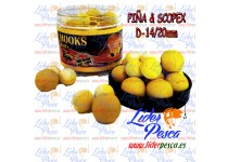 BOILIES POISSON FENAG POP UPS FLURO PIÑA & SCOPEX, 14/20mm. 200ml.