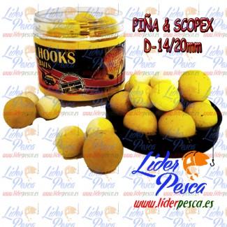 BOILIES POISSON FENAG POP UPS FLURO PIÑA & SCOPEX, 14/20mm. 200ml.