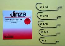 ANZUELO JIG JINZA WORM OFFSET BN, BOLSAS DE 6 Unidades.